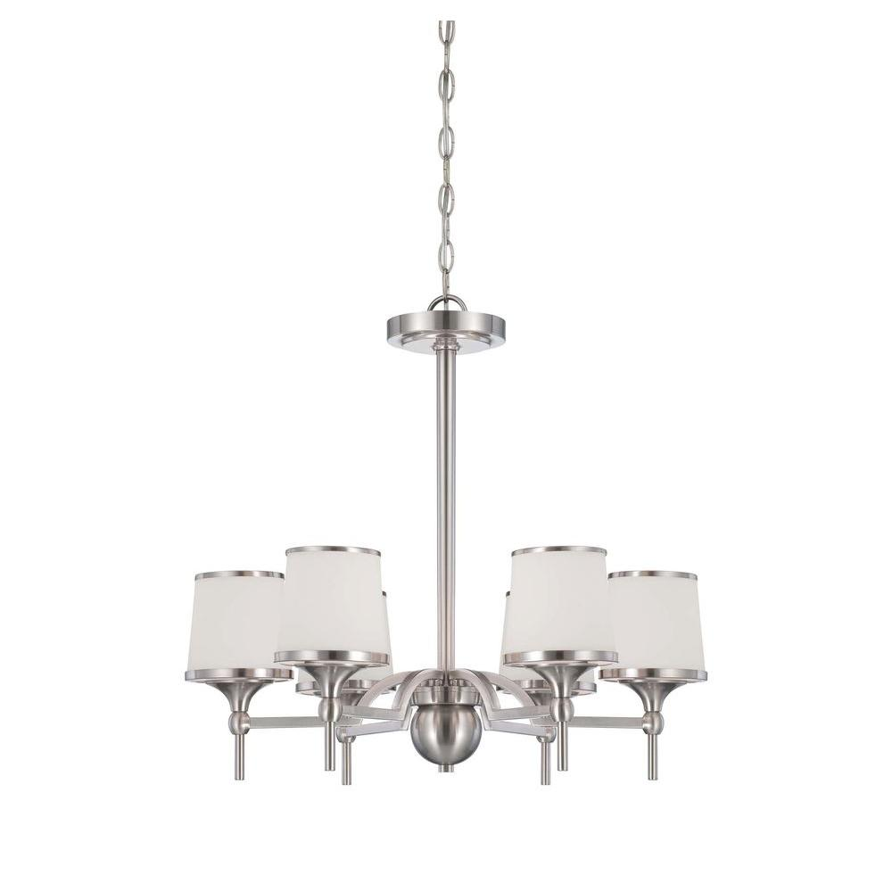 Satin 6-Light Satin Nickel Incandescent Ceiling Chandelier