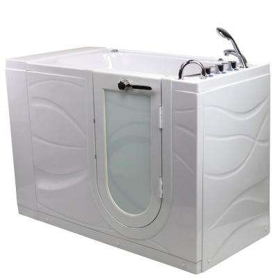 Zen 52 in. Acrylic Walk-In Whirlpool Bathtub in White with Right Outward Swing Door, Faucet Set and RHS 2 in. Dual Drain