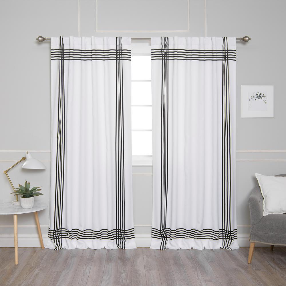 best home fashion white room darkening cross stripe nordic curtain 52 in w x 84 in l 2 pack. Black Bedroom Furniture Sets. Home Design Ideas