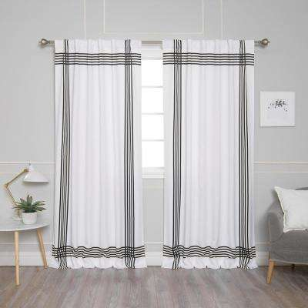 White Room Darkening Cross Stripe Nordic Curtain - 52 in. W x 84 in. L (2-Pack)