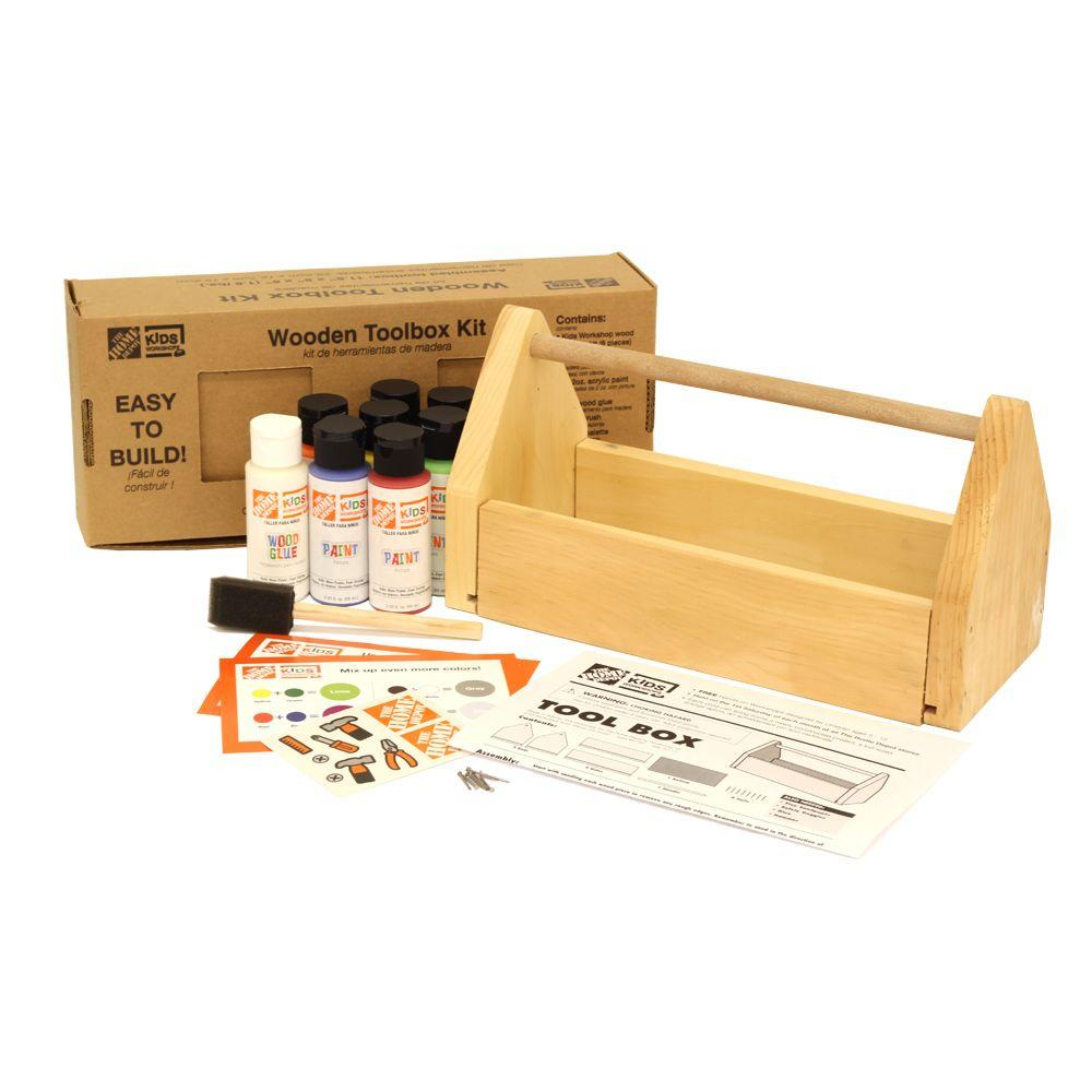 Home Kits Product : Kids wooden toolbox and paint kit the home depot