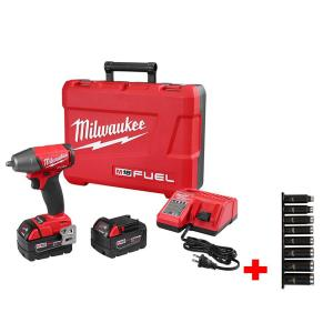 Milwaukee M18 FUEL 18-Volt Lithium-Ion Brushless 3/8 inch Compact Impact Wrench with Friction Ring Kit Impact Socket Set... by Milwaukee