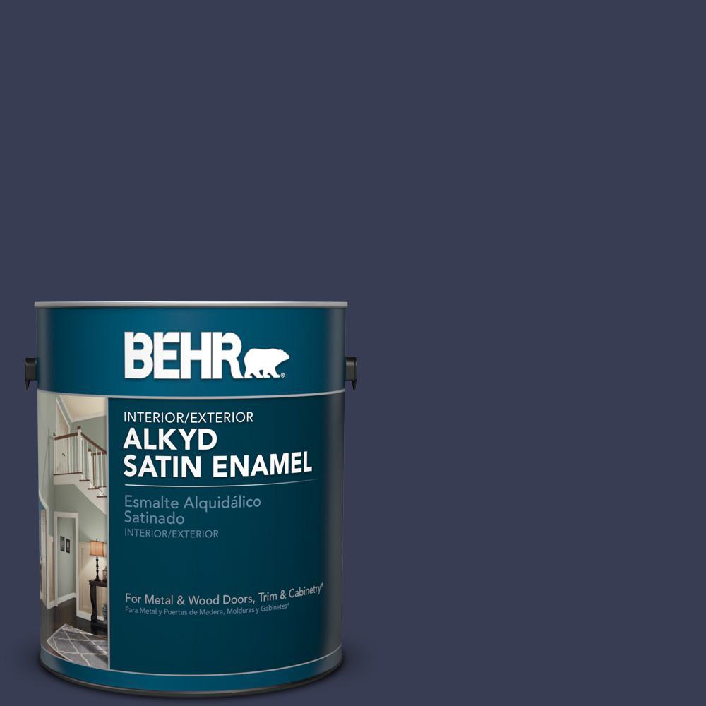1 gal. #HDC-CL-26A Indigo Ink Satin Enamel Alkyd Interior/Exterior Paint