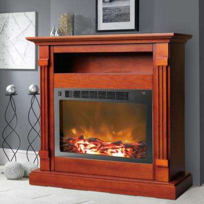 Sienna 34 in. Electronic Fireplace Mantel with Insert in Cherry