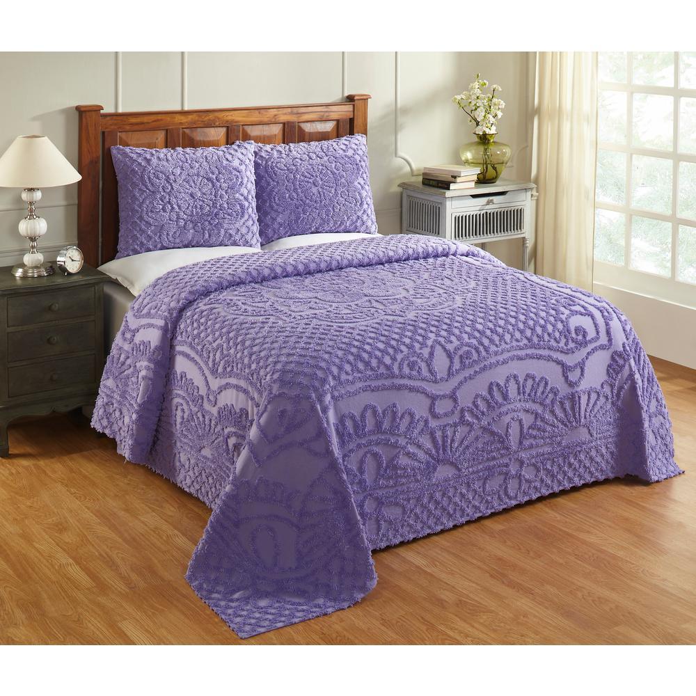 Trevor 102 in. X 110 in. Queen Lavender Bedspread