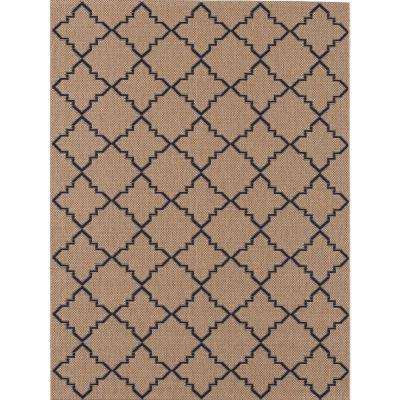 Moroccan Tile Beige/Navy 5 ft. 3 in. x 7 ft. 4 in. Indoor/Outdoor Area Rug