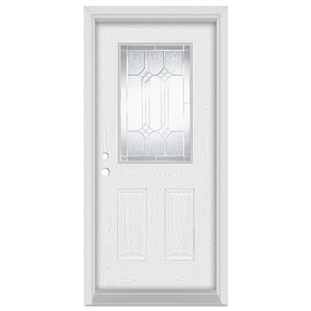 33.375 in. x 83 in. Orleans Right-Hand 1/2 Lite Zinc Finished Fiberglass Oak Woodgrain Prehung Front Door Brickmould