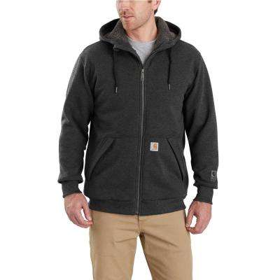 Men's Large Carbon Heather Cotton/Polyester Rain Defender Rockland Sherpa-Lined Hooded Sweatshirt
