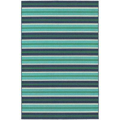 Trolley Aqua/Navy 7 ft. x 10 ft. Indoor/Outdoor Area Rug