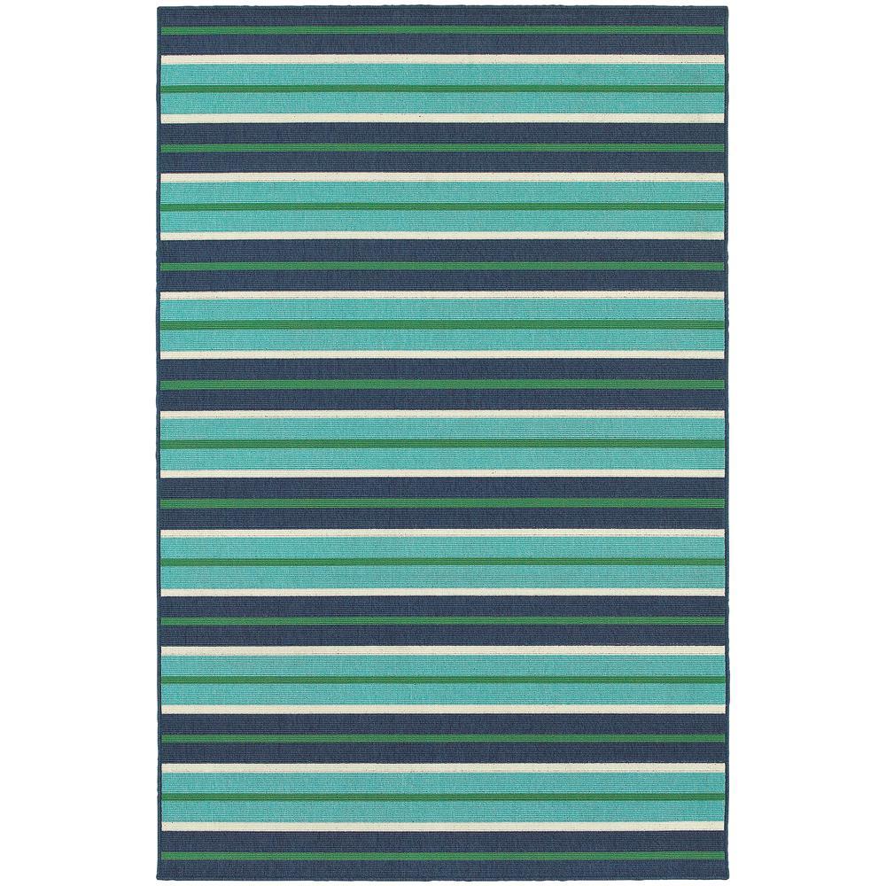 Home decorators collection trolley aqua navy 8 ft x 11 ft for Home decorators indoor outdoor rugs