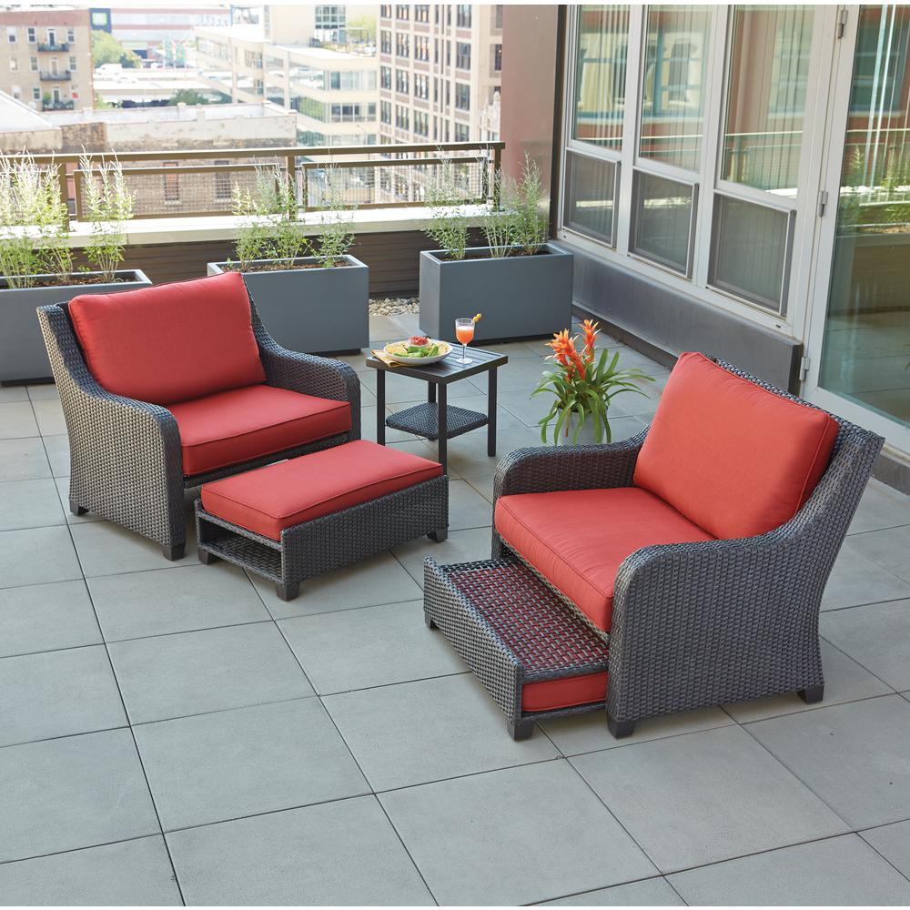 Sauntera 5 Piece Wicker Patio Seating Set with Red Cushions. Rust resistant   Fire Pit Sets   Outdoor Lounge Furniture   The