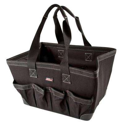 16 in. Soft Sided Construction Work Bin Tool Tote, Black