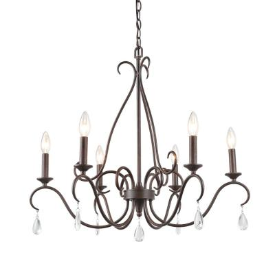 Esquilin 6-Light 28 in. Farmhouse Bronze Kitchen Island Chandelier with Crystal Pendant