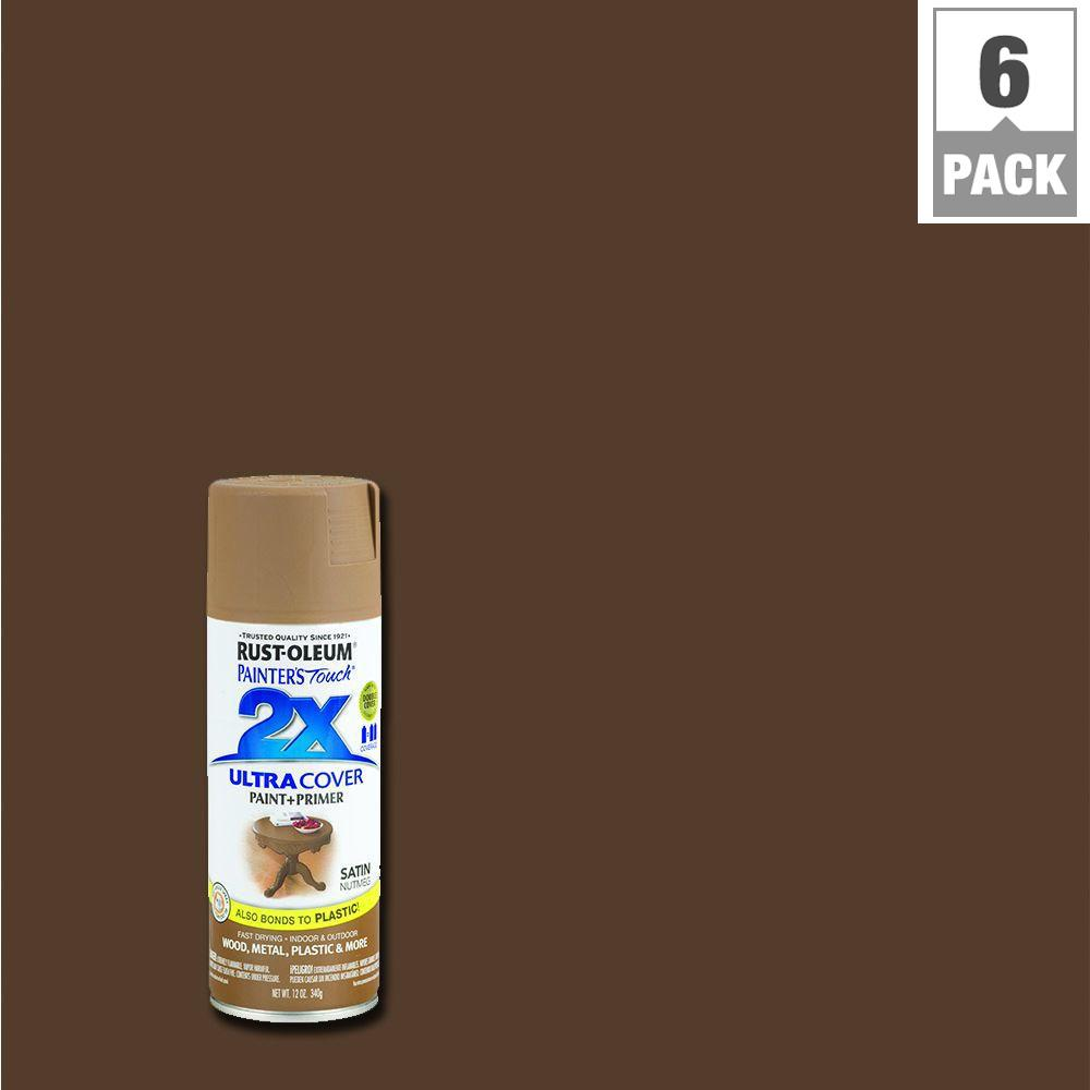 Rust-Oleum Painter's Touch 2X 12 oz. Satin Nutmeg General Purpose Spray Paint (6-Pack)