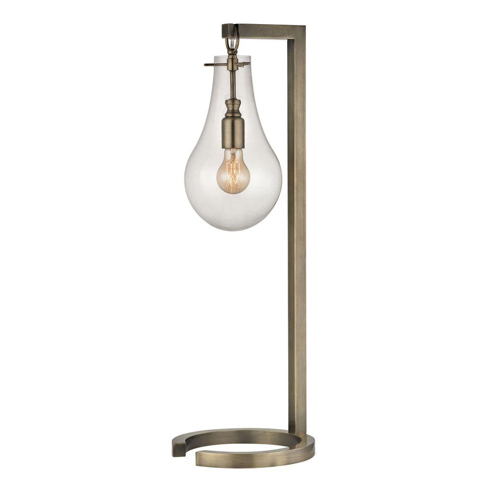 Nice Titan Lighting 29 In. Antique Brass Table Lamp With Clear Glass Shade