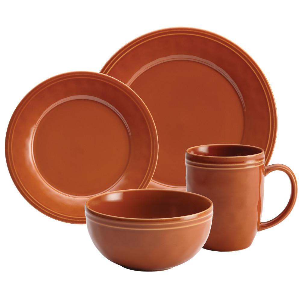 Cucina Dinnerware 16-Piece Stoneware Dinnerware Set in Pumpkin Orange