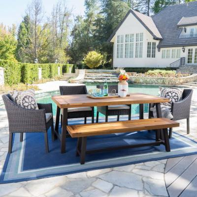 Multi-Brown 6-Piece Wicker, Wood and Metal Rectangular Outdoor Dining Set with Beige Cushion