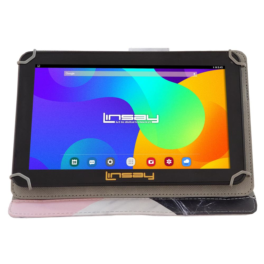 LINSAY 10.1 in. 2GB RAM 16GB Android 9.0 Pie Quad Core Tablet with Black White Pink Shape Marble Case was $179.99 now $87.99 (51.0% off)