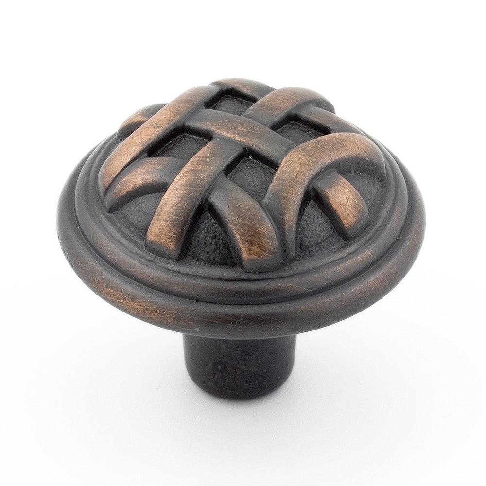1-1/4 in. (32 mm) Traditional Brushed Oil-Rubbed Bronze Round Cabinet Knob