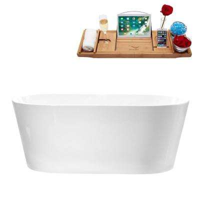 58.3 in. Acrylic Flatbottom Non-Whirlpool Bathtub in Glossy White