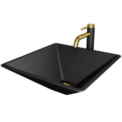 Vigo Matte Shell Serato Glass Square Vessel Bathroom Sink In Black With Lexington Faucet And Pop Up Drain In Matte Gold Vgt2018 The Home Depot