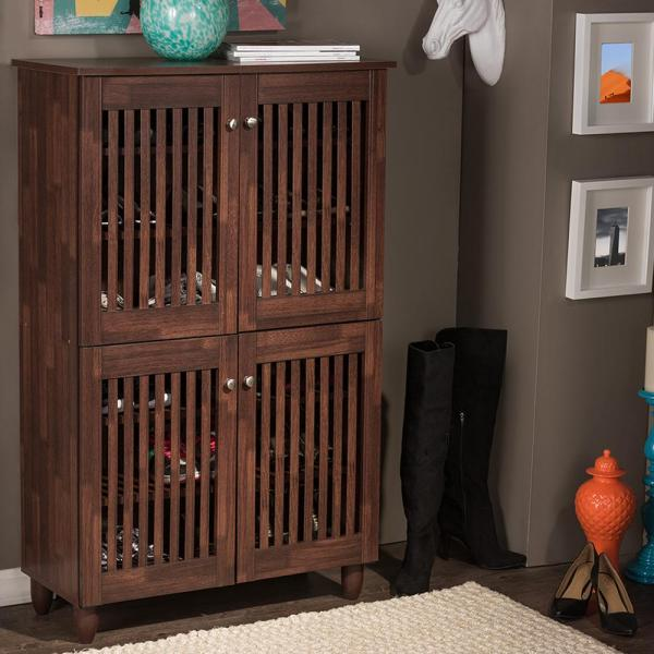 Baxton Studio Fernanda Medium Brown Wood Tall Storage Cabinet 28862-6512-HD