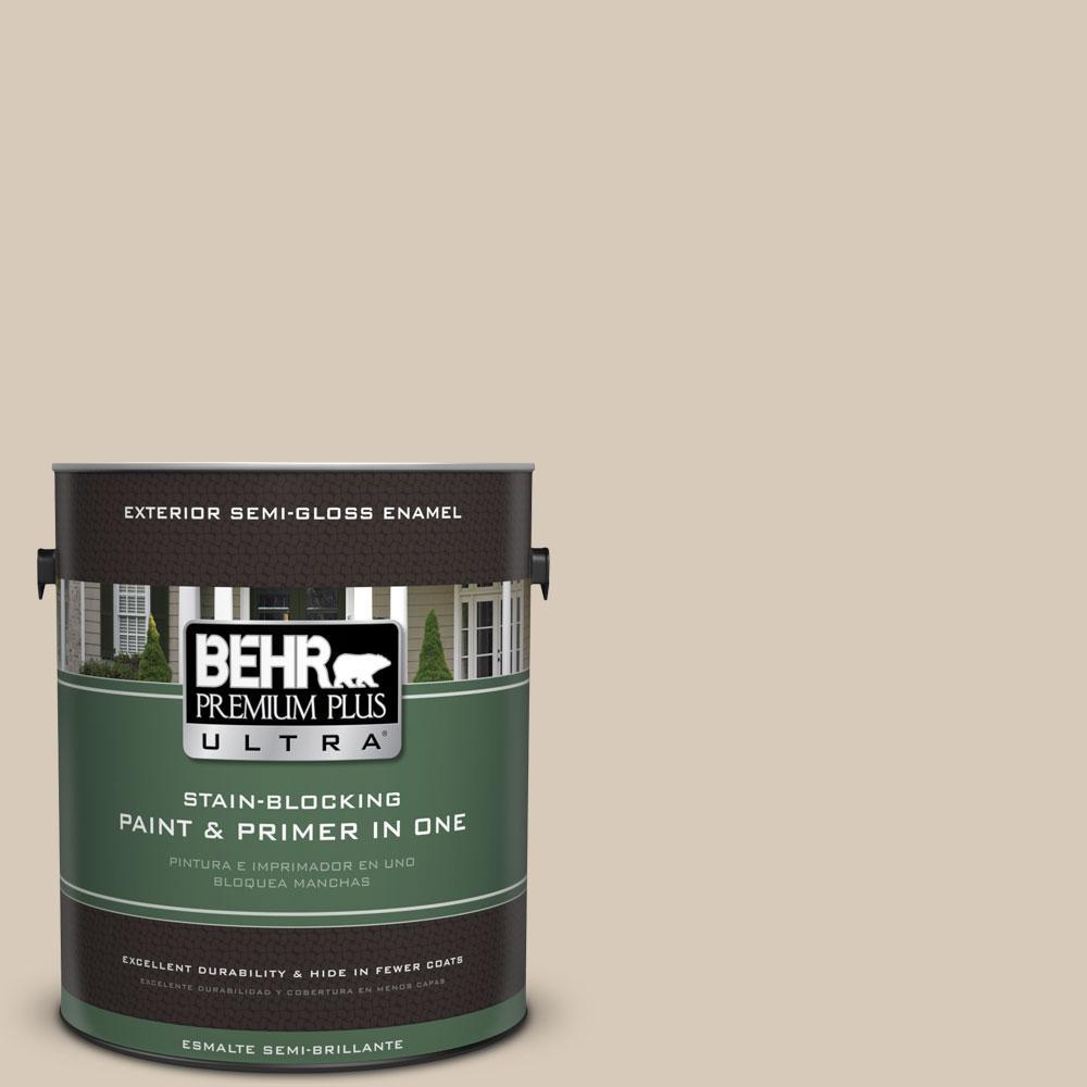 BEHR Premium Plus Ultra 1-gal. #PPU5-12 Almond Wisp Semi-Gloss Enamel Exterior Paint