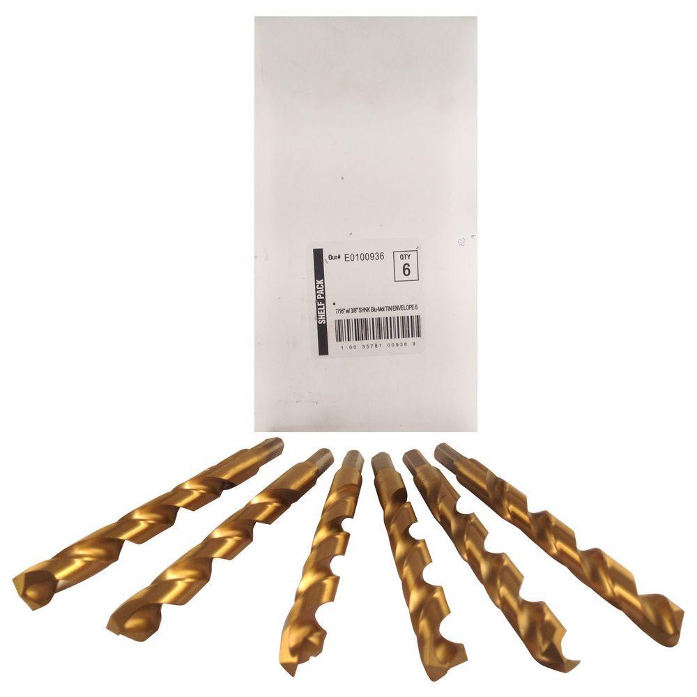 7/16 in. Diameter Titanium Jobber Drill Bit (6-Pack)