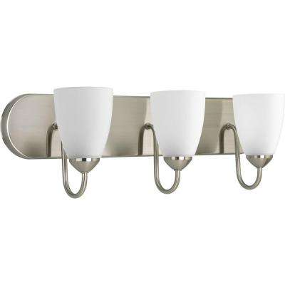 Gather Collection 3-Light Brushed Nickel Vanity Light with Etched Glass Shades