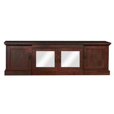 Daleni 69 in. Vintage Walnut Particle Board TV Stand Fits TVs Up to 60 in. with Storage Doors