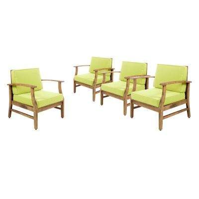 Giancarlo Stationary Wood Outdoor Lounge Chair with Green Cushions (4-Pack)