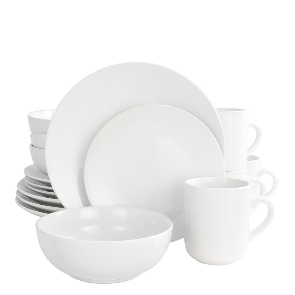 Simplicity 16-Piece White Dinnerware Set