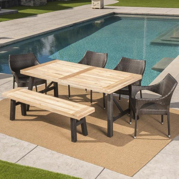 Noble House Coleman 6 Piece Wood And Wicker Outdoor Dining Set With Stacking Chairs And Bench 24297 The Home Depot