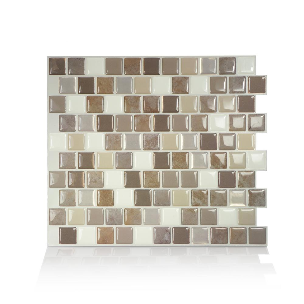 Smart Tiles Brixia Pardo 10.20 in. W x 8.85 in. H Peel and Stick ...