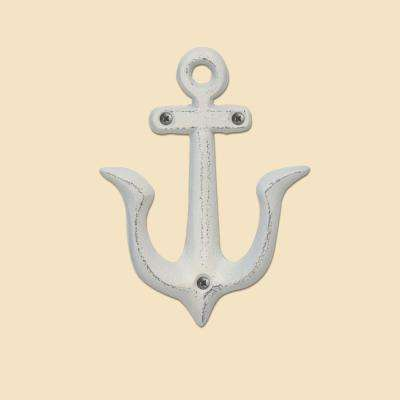 5.31 in. Antique Worn White Cast Iron Anchor Double Wall Hook