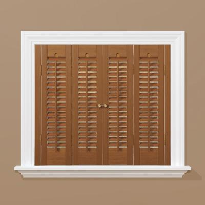 Oak 1-1/4 in. Traditional Faux Wood Interior Shutter 27 to 29 in. W x 36 in. L