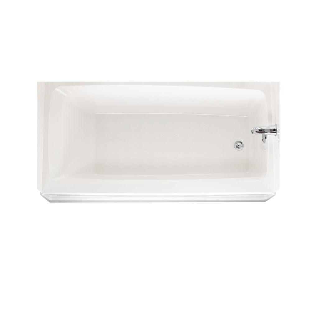 Swan 60 in. Fiberglass Right Drain Rectangular Alcove Bathtub in ...