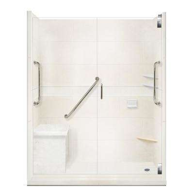 Classic Freedom Grand Hinged 36 in. x 60 in. x 80 in. Right Drain Alcove Shower Kit in Natural Buff and Chrome