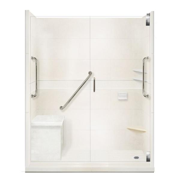 American Bath Factory Classic Freedom Grand Hinged 36 In X 60 In X 80 In Right Drain Alcove Shower Kit In Natural Buff And Satin Nickel Afgh 6036nc Rd Sn The Home Depot