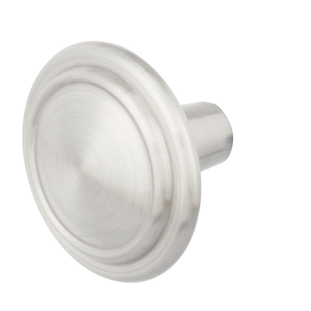 Everbilt Top Ring 1-1/4 in. Satin Nickel Classic Round Cabinet Knob (10-Pack)