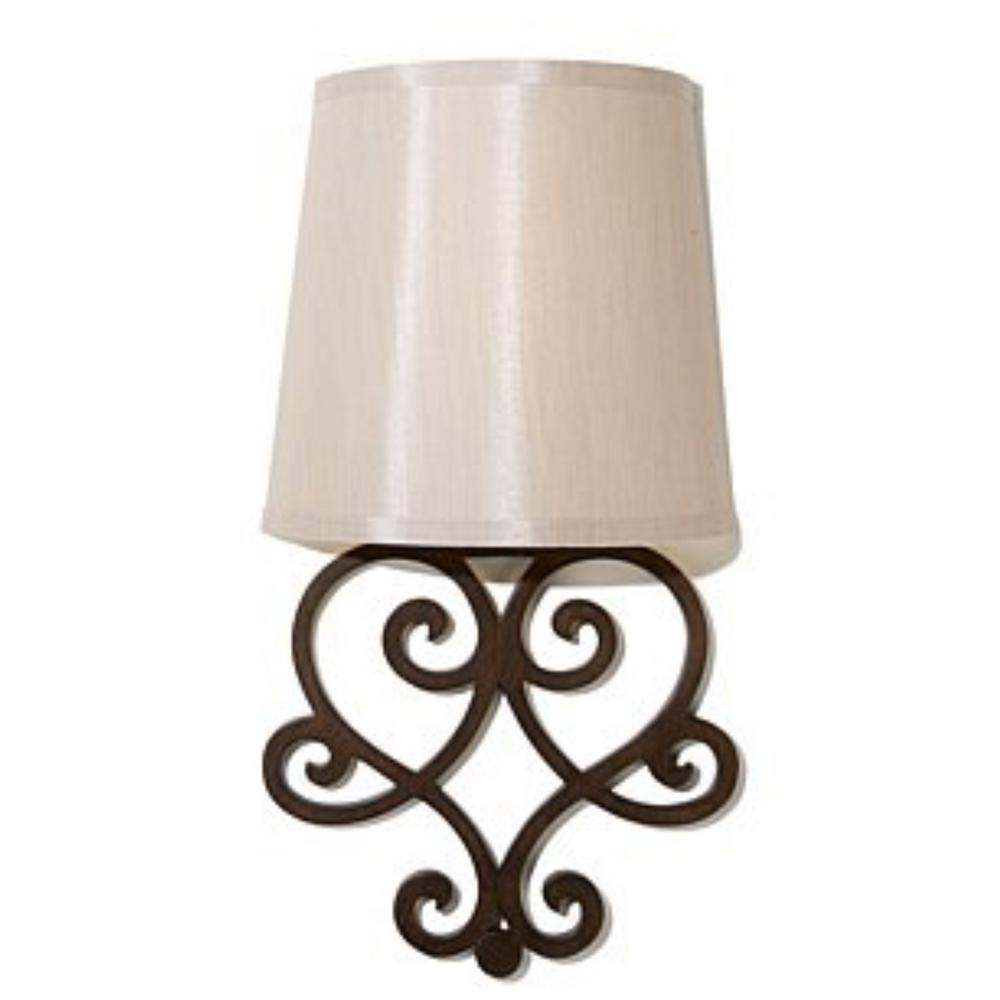 It S Exciting Lighting Heart Bronze Wall Scroll Integrated Led Battery Operated Indoor Sconce With Tan Fleck Shade