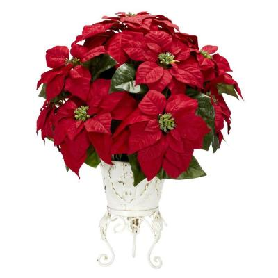 21in. H Red Poinsettia with Metal Planter Silk Flower Arrangement