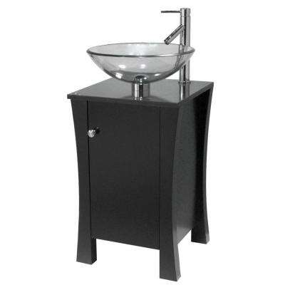 18 in. Vanity in Espresso with Granite Vanity Top in Black