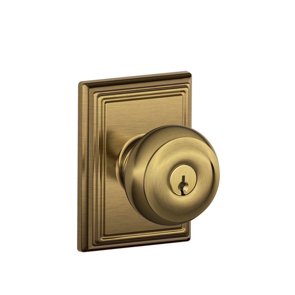 Schlage Siena Bright Brass Keyed Entry Door Knob With
