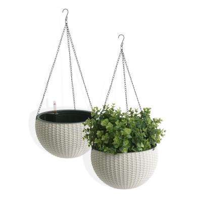 Self Watering Wicker White Plastic Hanging Planter 2 Pack