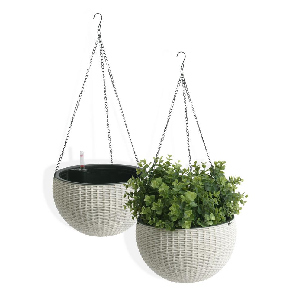 Algreen Self Watering Wicker White Plastic Hanging Planter