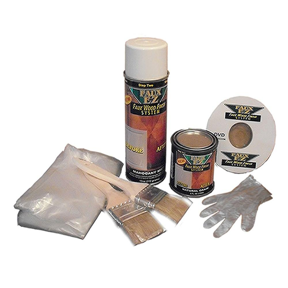 Faux Ez Natural Wood Grain 12 Oz Cabinet And Furniture Refinishing Kit Small Projects Fez 101 The Home Depot