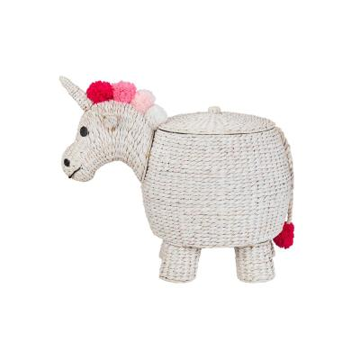 StyleWell White Unicorn Water Hyacinth Woven Decorative Basket with Lid