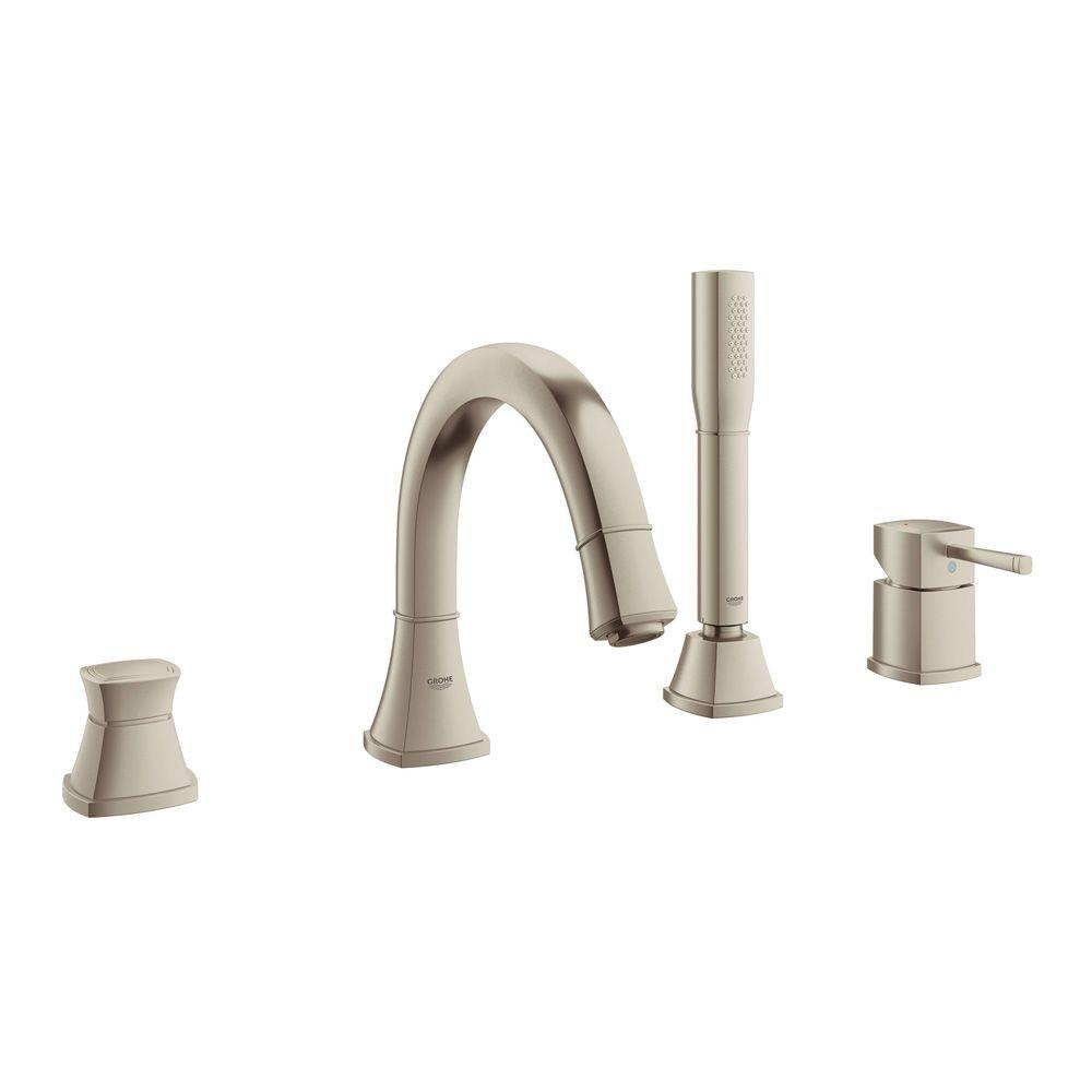 GROHE Grandera Single-Handle Deck-Mount Roman Tub Faucet with Personal Hand Shower in Brushed Nickel InfinityFinish