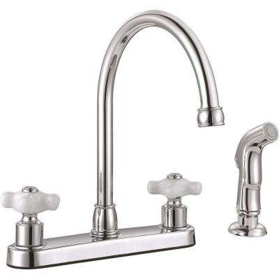 Wellington 2-Handle Standard Kitchen Faucet with Side Sprayer in Chrome